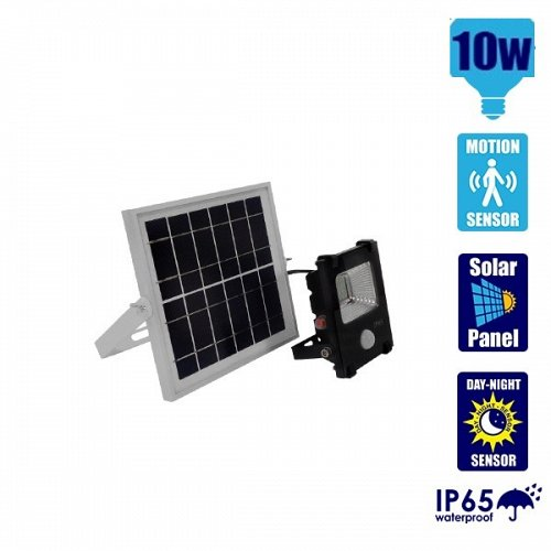 10W Solar LED Projector with Motion Sensor Cool White