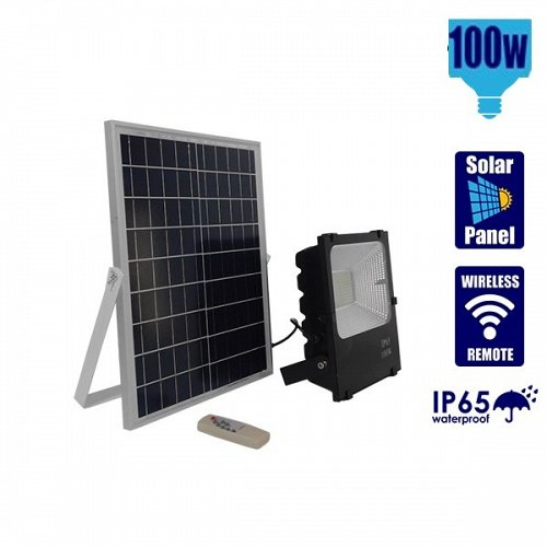 100W Solar LED Projector Cool White