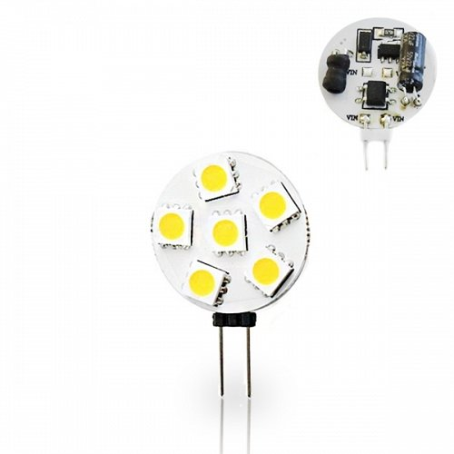 G4  With 6 Led 1.2 W 10-30Volt/DC Side Pin Cool White