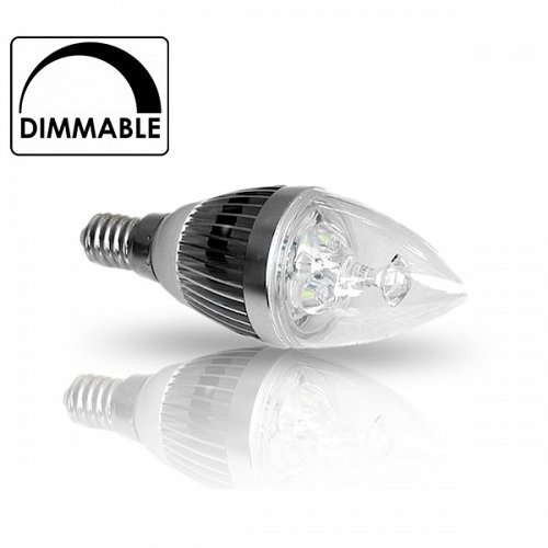 LED Candle  E14 3x1 Dimmable Cool White
